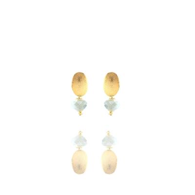 Brinco Barbara Strauss Serres Em Cristal Azul Céu, Revestido Em Ouro 18K