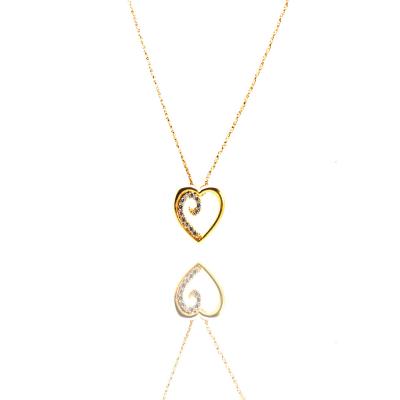 Colar Barbara Strauss, Coração Austin, Zircônia Transparente, Metal Dourado, Banhado em Ouro 18k
