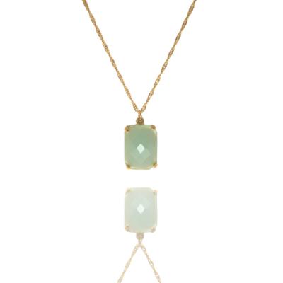 Colar Barbara Strauss Semi Joia Methi Em Resina Lalique Verde, Revestido Em Ouro Amarelo 18K