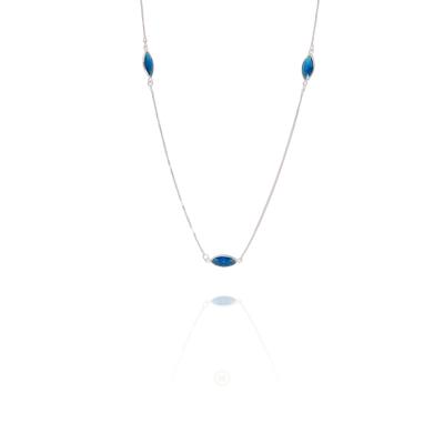 Colar Barbara Strauss Semi Joia Sky em Cristal Azul, Revestido Em Ouro Branco 18K