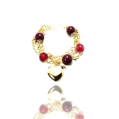 Pulseira Barbara Strauss Semi Joia Coração Em Resina Lalique,Rev. Em Ouro Amarelo 18K