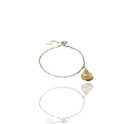 Pulseira Barbara Strauss Semi Joia Gota Em Pedra Natural Citrino, Revestido Em Ouro Branco 18K