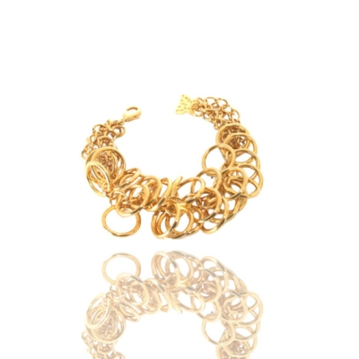 Pulseira Dourada Circle Metal Banhado Ouro Barbara Strauss