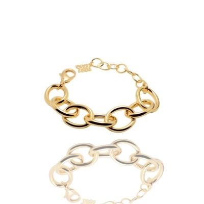 Pulseira Dourada Elos Metal Banhado a Ouro Barbara Strauss
