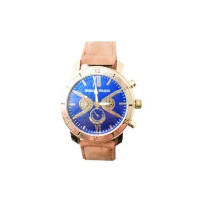 Relógio Barbara Strauss Masculino Em Couro Camurça E Cristal Mineral