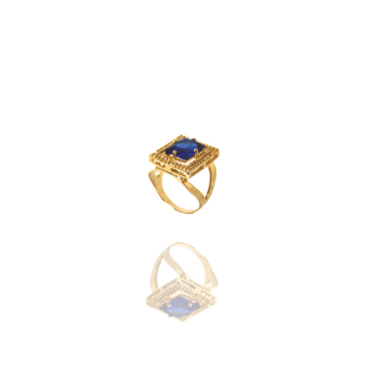 Anel Barbara Strauss Aloa Cristal Azul Cravada