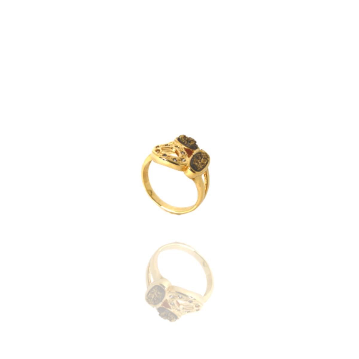 Anel Barbara Strauss Pedra Natural Druza Dourado
