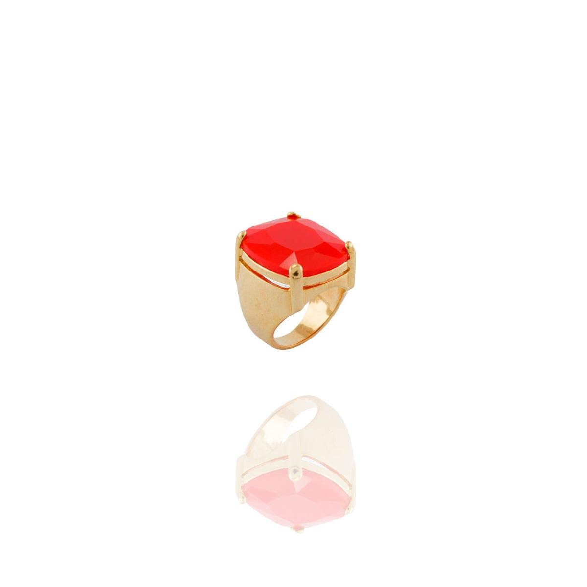 Anel Barbara Strauss Rabat Quartzo Vermelho Banho Dourado