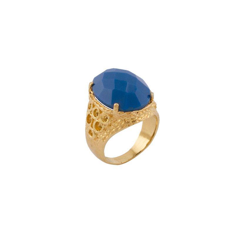 Anel Barbara Strauss Semi Joia Boston Em Resina Lalique Azul
