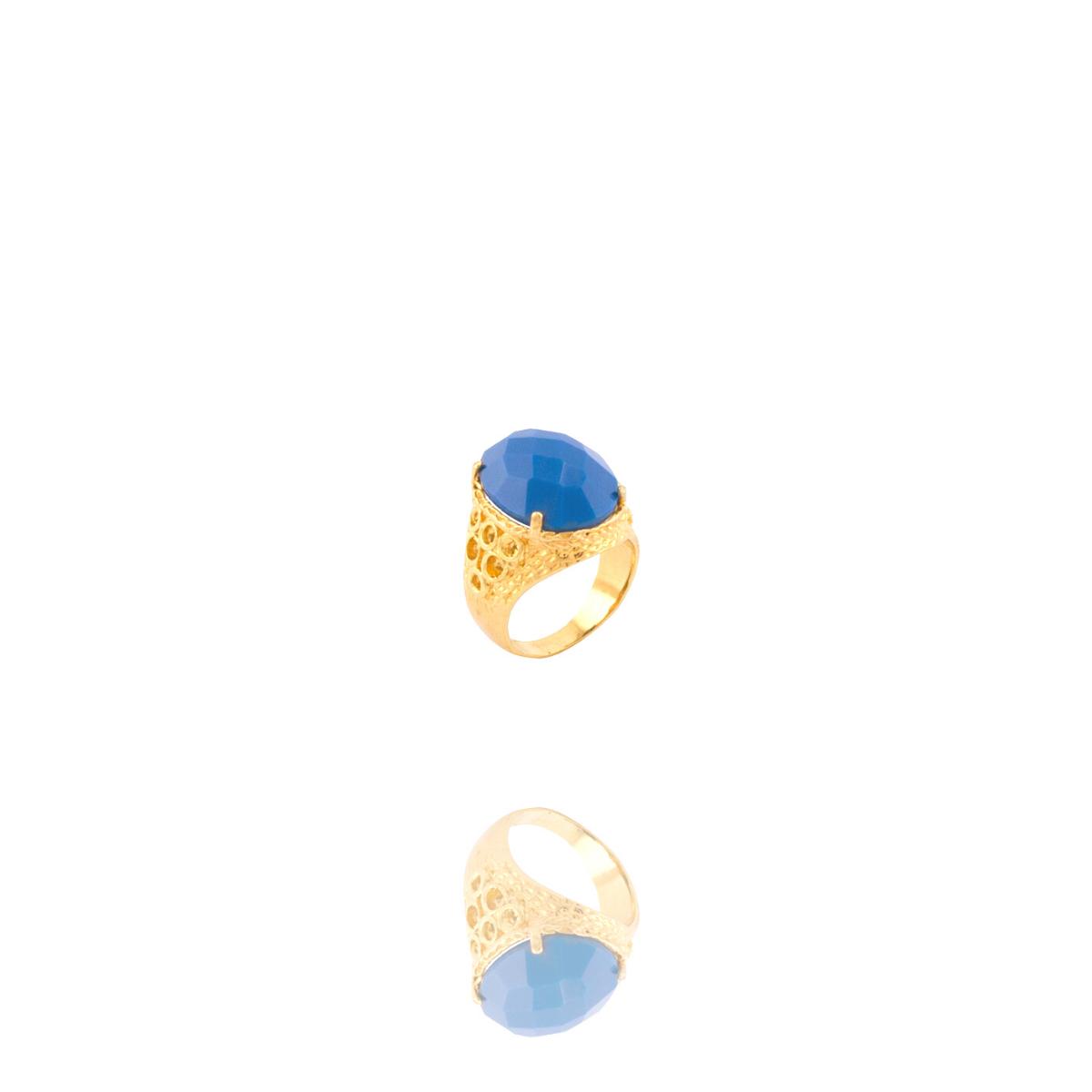 Anel Barbara Strauss Semi Joia Boston Em Resina Lalique Azul, Rev. Em Ouro Amarelo 18K