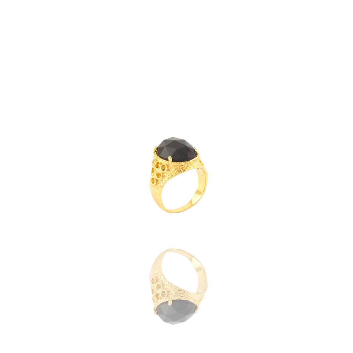 Anel Barbara Strauss Semi Joia Boston Em Resina Lalique Preto, Rev. Em Ouro Amarelo 18K