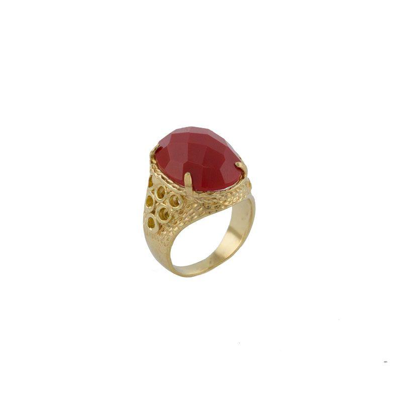 Anel Barbara Strauss Semi Joia Boston Em Resina Lalique Vermelho
