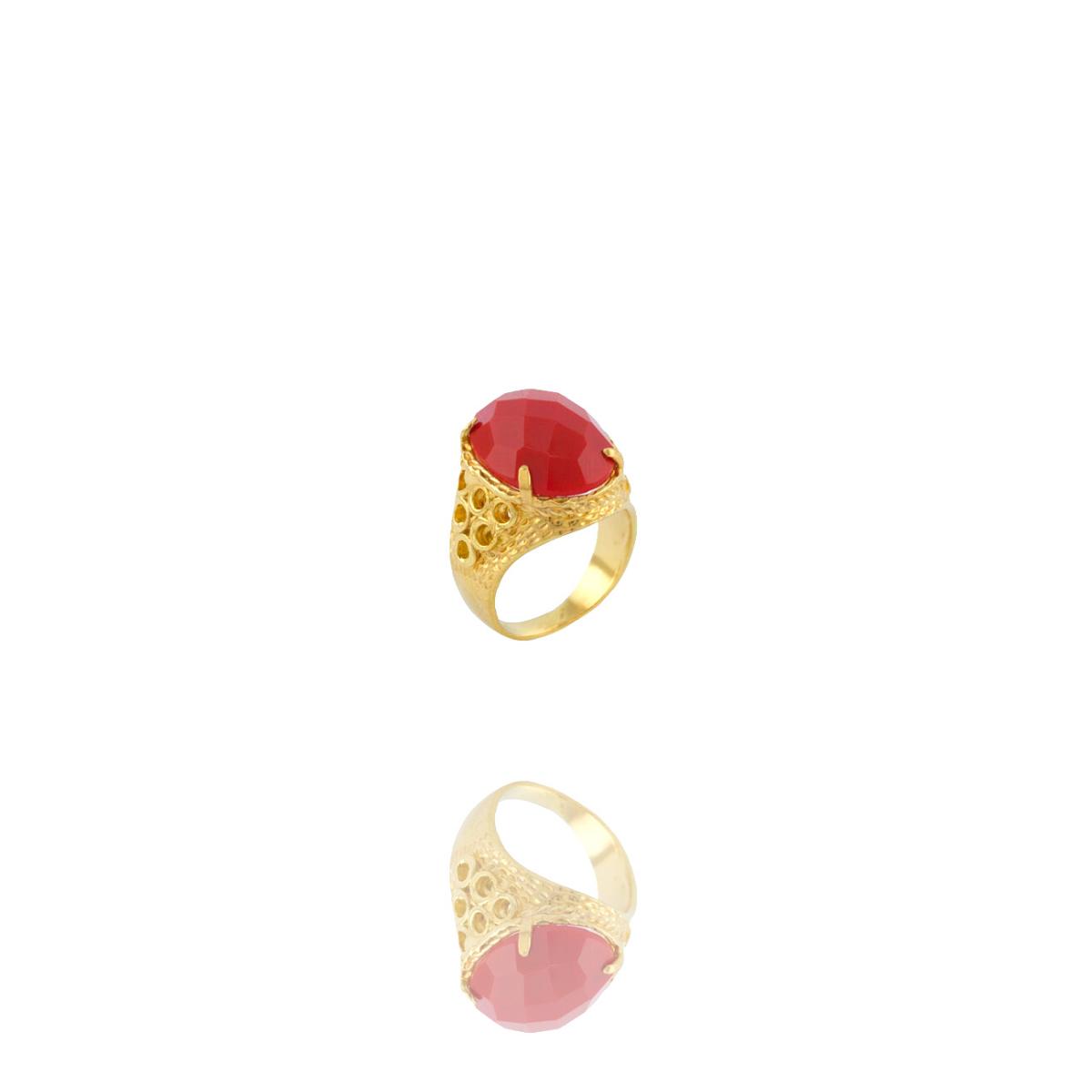 Anel Barbara Strauss Semi Joia Boston Em Resina Lalique Vermelho, Rev. Em Ouro Amarelo 18K