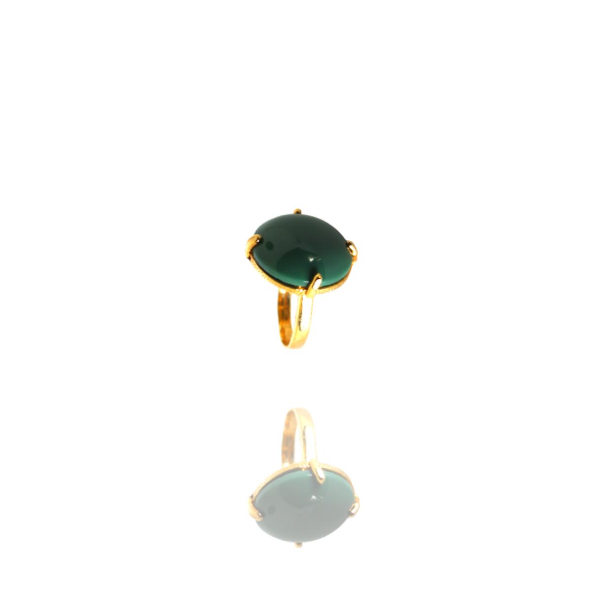 Anel Barbara Strauss Semi Joia Calgary Em Resina Lalique Verde, Rev. Em Ouro Amarelo 18K