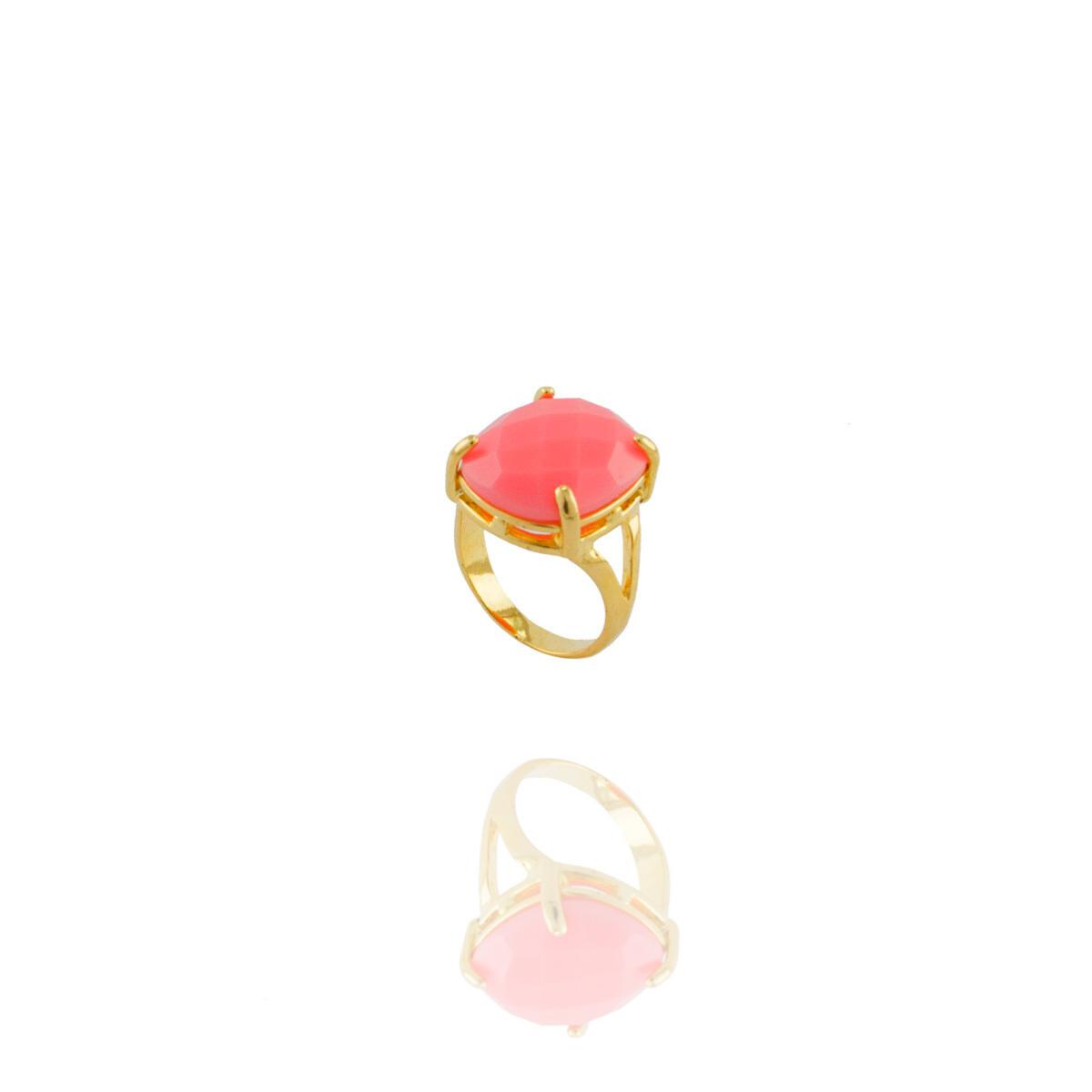 Anel Barbara Strauss Semi Joia Isla em Resina Lalique Rosa, Rev. Em Ouro Amarelo 18K