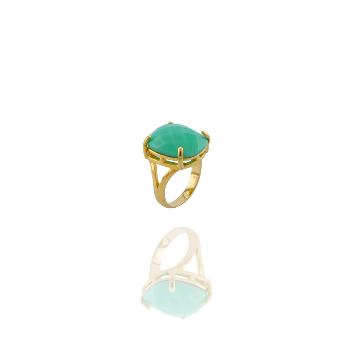 Anel Barbara Strauss Semi Joia Isla em Resina Lalique Verde, Rev. Em Ouro Amarelo 18K