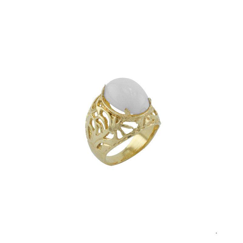 Anel Barbara Strauss Semi Joia Lyon Em Resina Lalique Branco