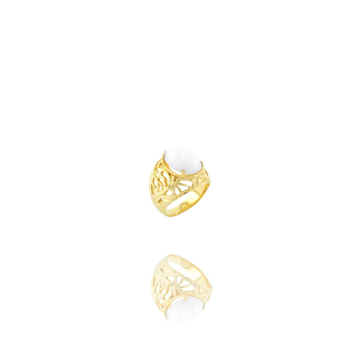 Anel Barbara Strauss Semi Joia Lyon Em Resina Lalique Branco, Rev. Em Ouro Amarelo 18K