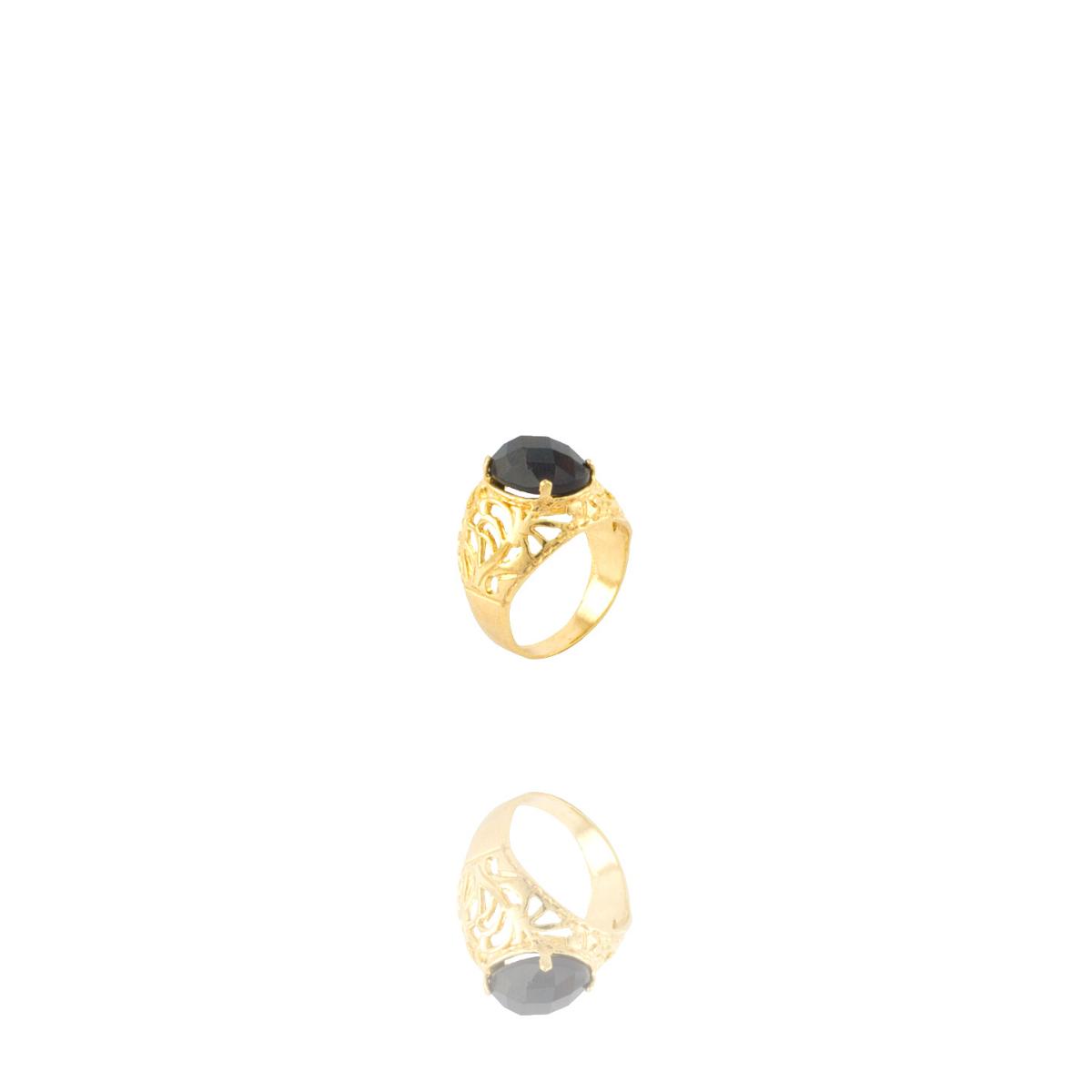 Anel Barbara Strauss Semi Joia Lyon Em Resina Lalique Preto, Rev. Em Ouro Amarelo 18K