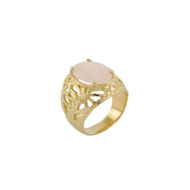 Anel Barbara Strauss Semi Joia Lyon Em Resina Lalique Rosa
