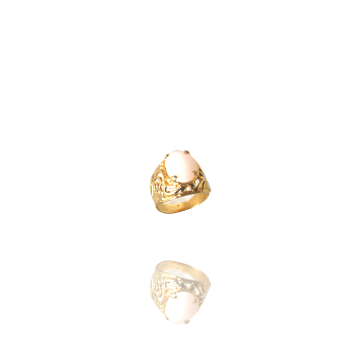 Anel Barbara Strauss Semi Joia Lyon Em Resina Lalique Rosa, Rev. Em Ouro Amarelo 18K