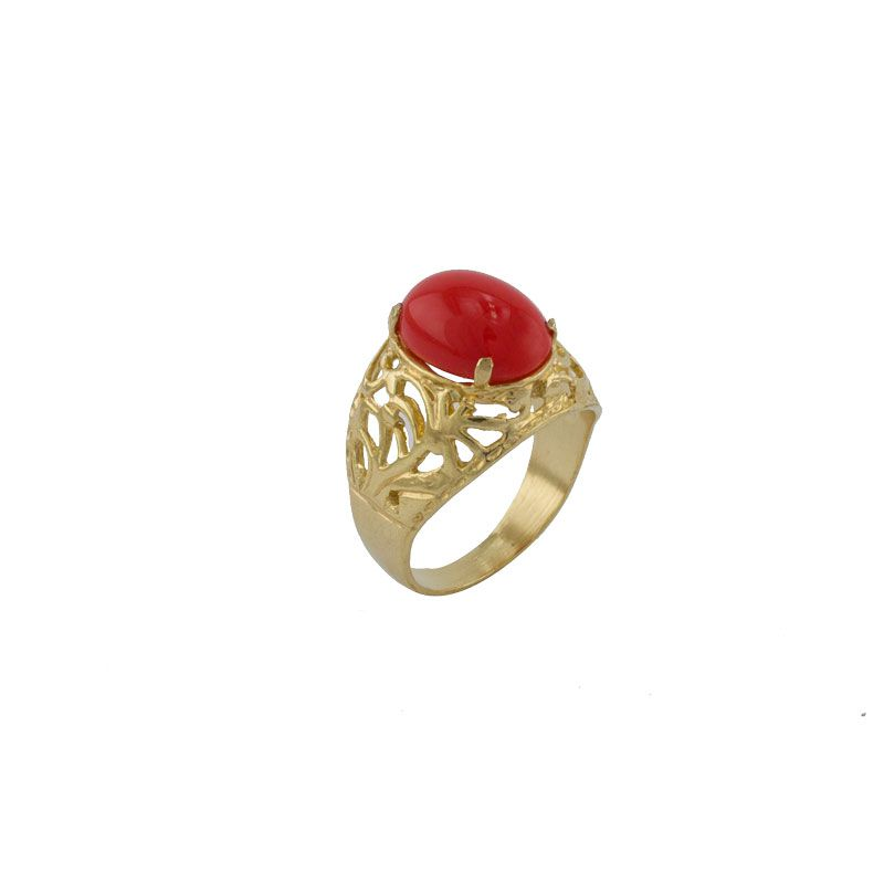 Anel Barbara Strauss Semi Joia Lyon Em Resina Lalique Vermelho