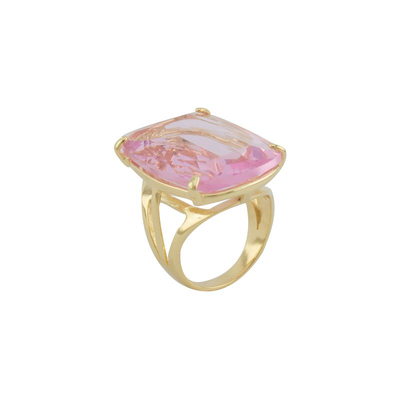 Anel Barbara Strauss Semi Joia Med Em Cristal Rosa
