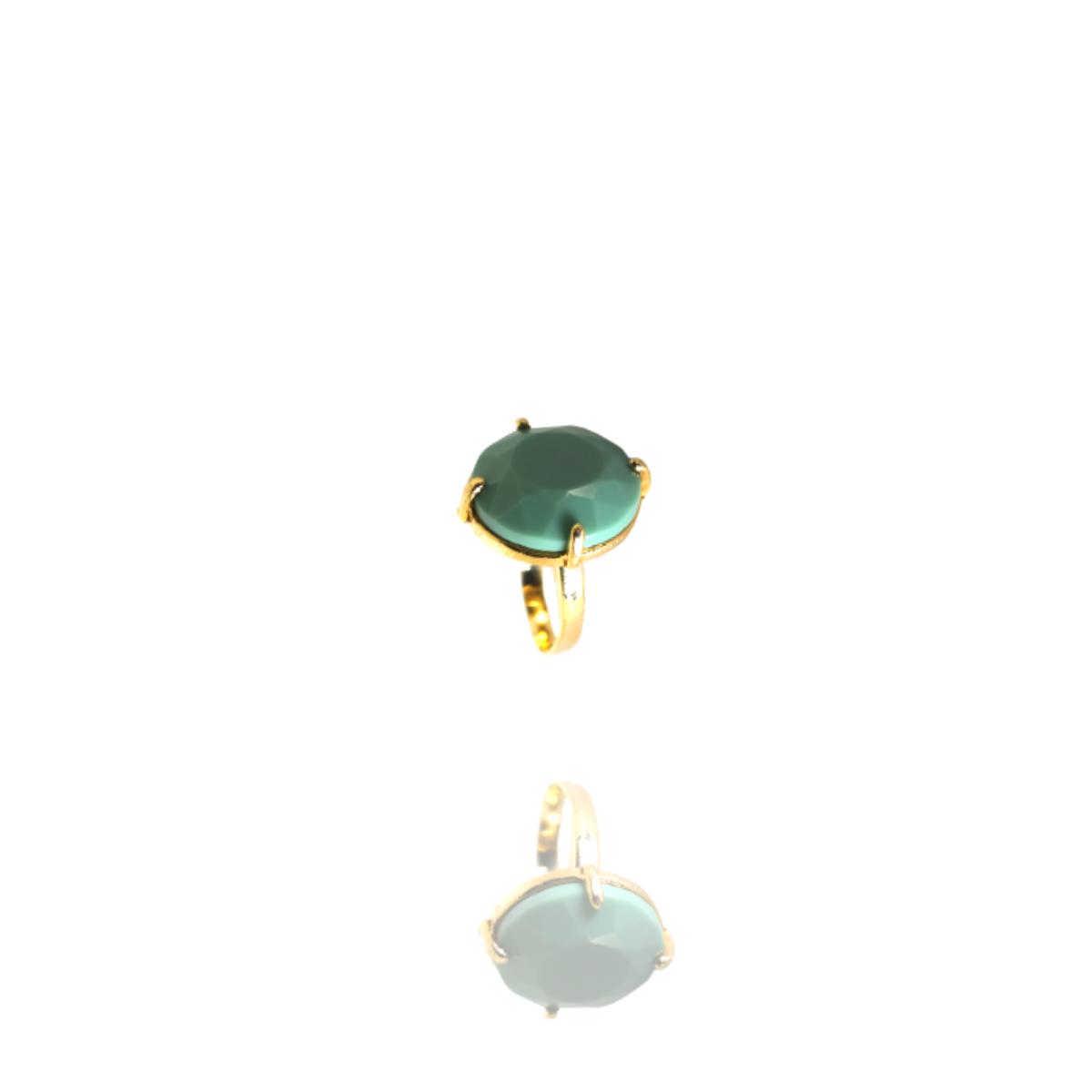 Anel Barbara Strauss Semi Joia Naigata Em Resina Lalique Verde, Rev. Em Ouro Amarelo 18K