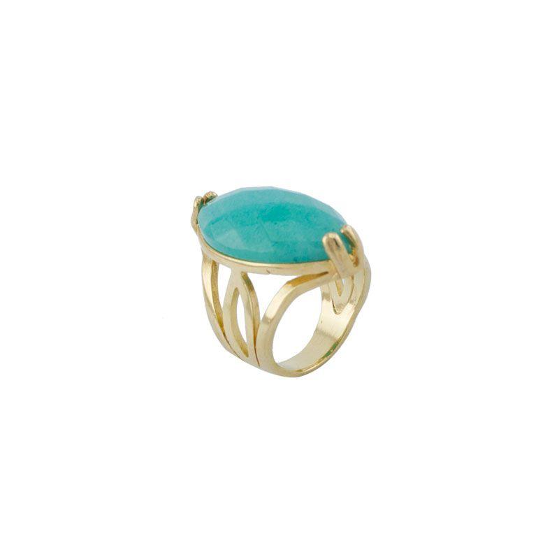 Anel Barbara Strauss Semi Joia Nasi em Pedra Natural Azul Turquesa