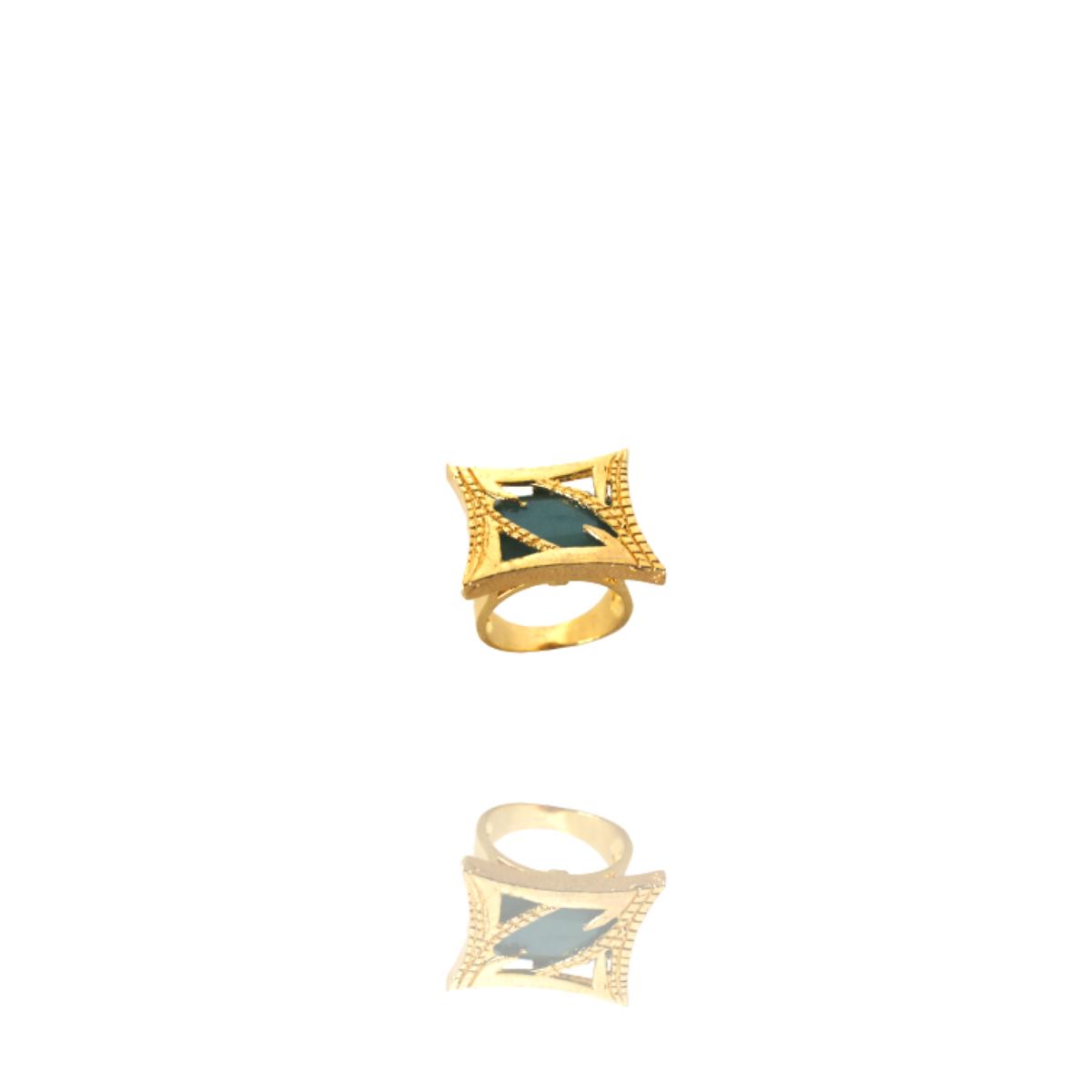 Anel Barbara Strauss Semi Joia Ninive Em Resina Lalique Azul, Rev. Em Ouro Amarelo 18K