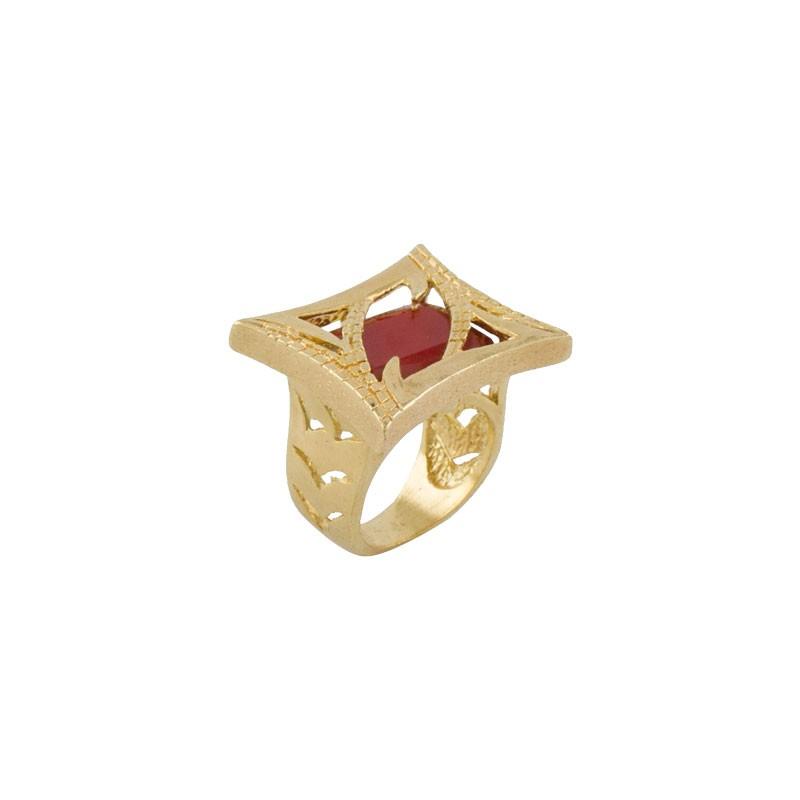 Anel Barbara Strauss Semi Joia Ninive Em Resina Lalique Vermelha, Rev. Em Ouro Amarelo 18K