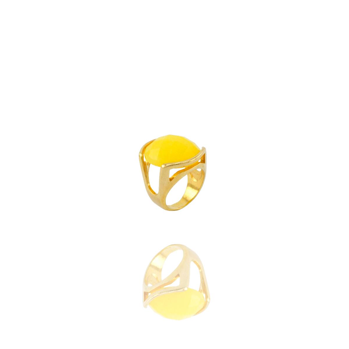 Anel Barbara Strauss Semi Joia Soya Em Pedra Natural Amarela, Rev. Em Ouro Amarelo 18K