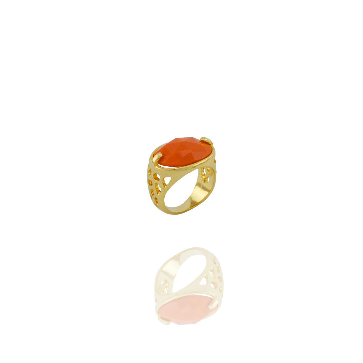 Anel Barbara Strauss Semi Joia Tânger Em Resina Lalique Laranja, Rev. Em Ouro Amarelo 18K
