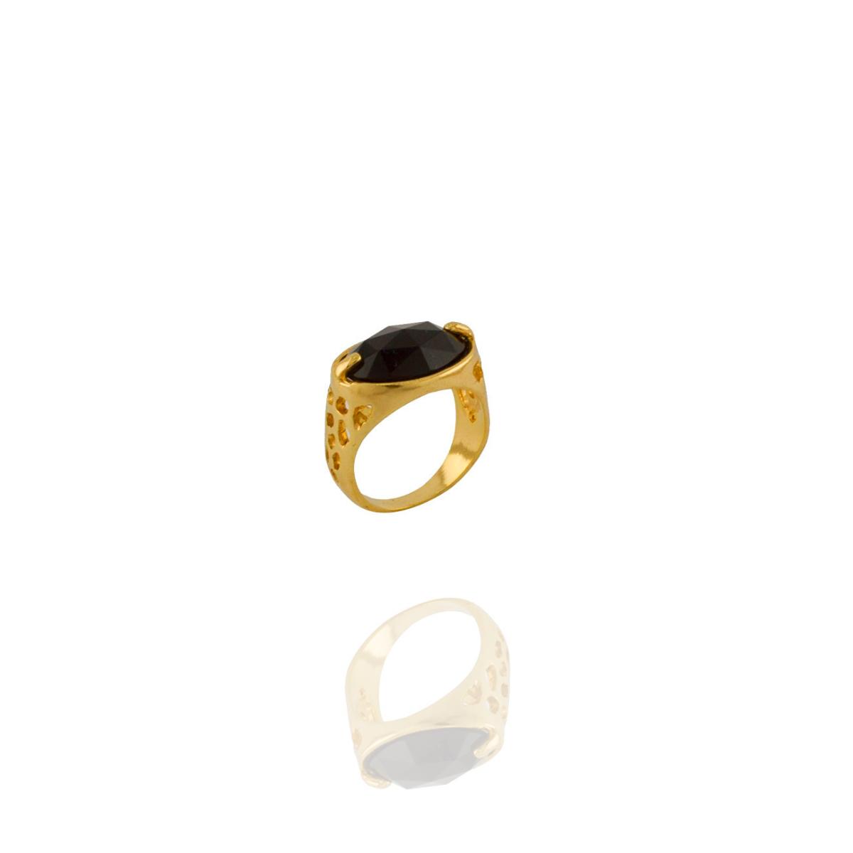 Anel Barbara Strauss Semi Joia Tânger Em Resina Lalique Preta, Rev. Em Ouro Amarelo 18K