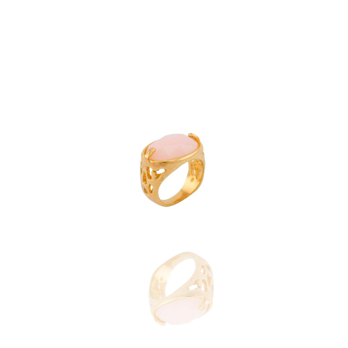 Anel Barbara Strauss Semi Joia Tânger Em Resina Lalique Rosa, Rev. Em Ouro Amarelo 18K