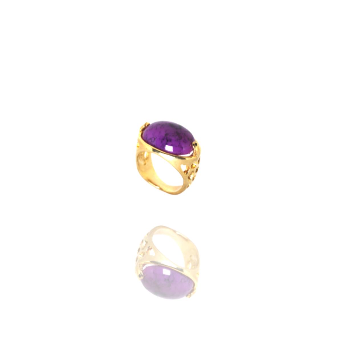 Anel Barbara Strauss Semi Joia Tânger Em Resina Lalique Roxa, Rev. Em Ouro Amarelo 18K
