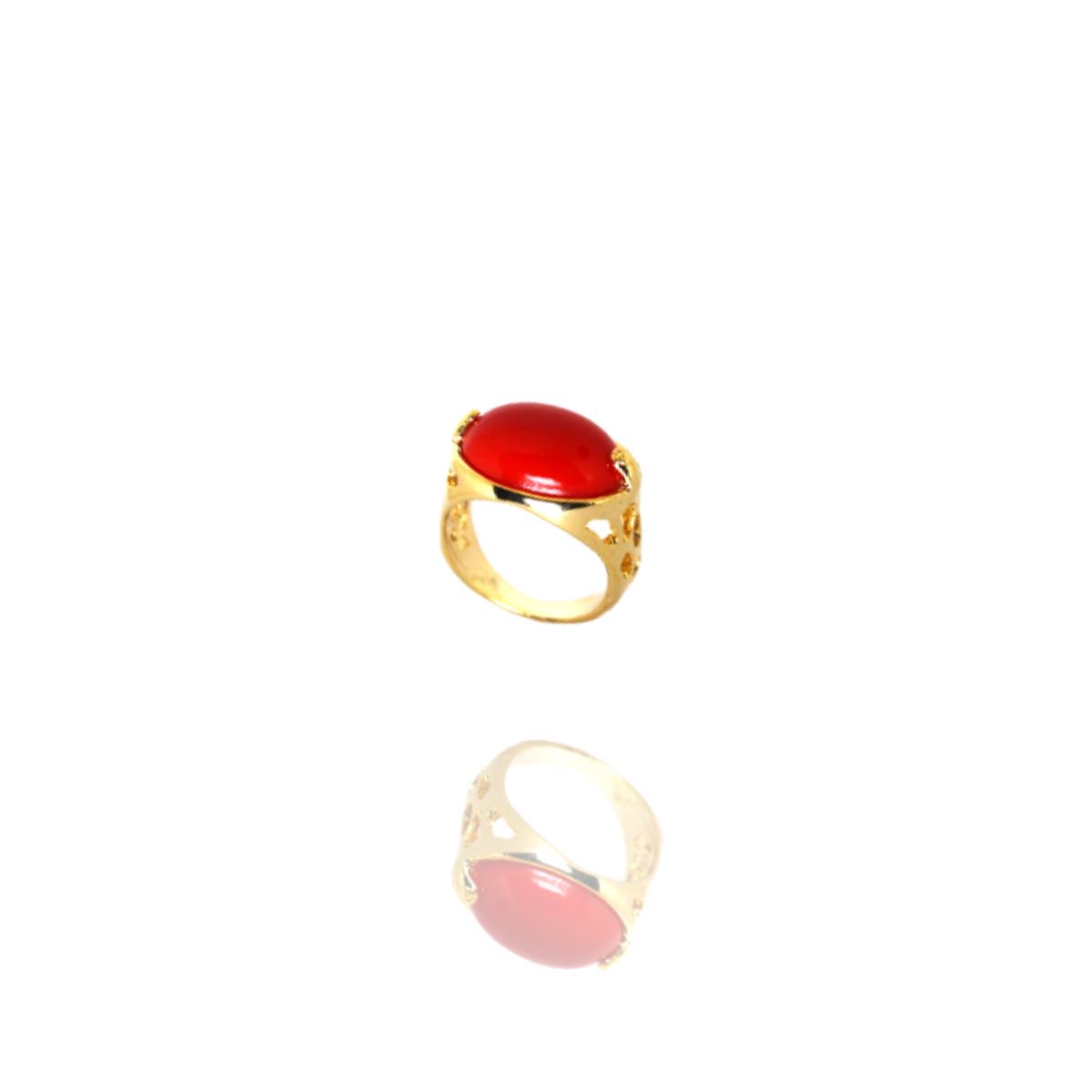 Anel Barbara Strauss Semi Joia Tânger Em Resina Lalique Vermelha, Rev. Em Ouro Amarelo 18K