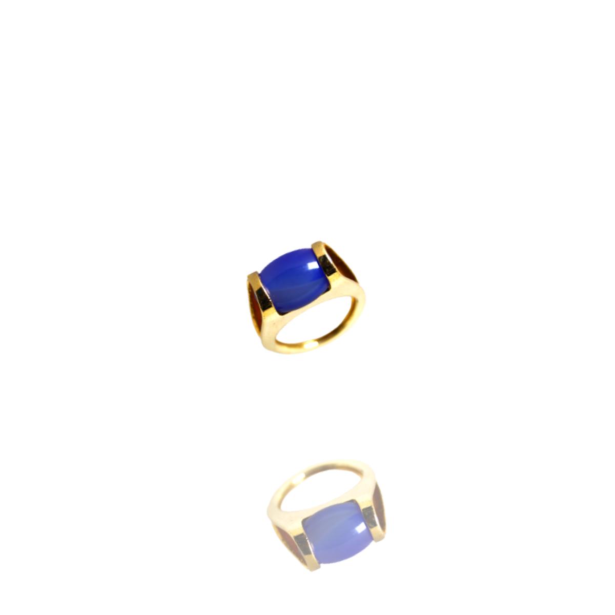 Anel Barbara Strauss Semi Joia Toyota Em Pedra Natural Azul, Rev. Em Ouro Amarelo 18K