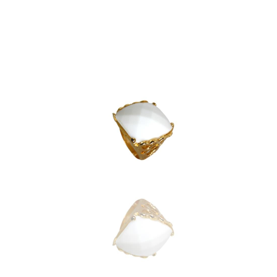 Anel Dourado Cai Quartzo Branco Banhado Ouro Barbara Strauss
