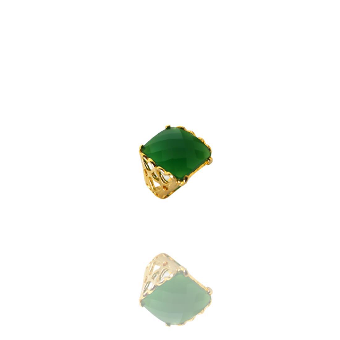 Anel Dourado Cair Quartzo Verde Banhado Ouro Barbara Strauss