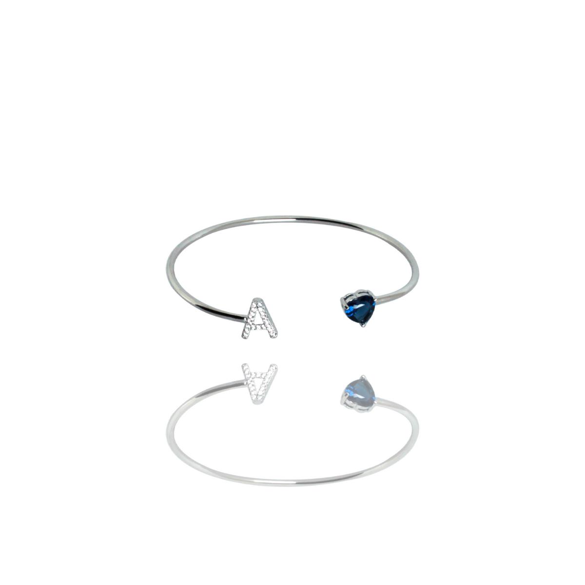Bracelete Barbara Strauss Semi Joia Love A Em Quartzo Azul, Rev. Ouro Branco 18K