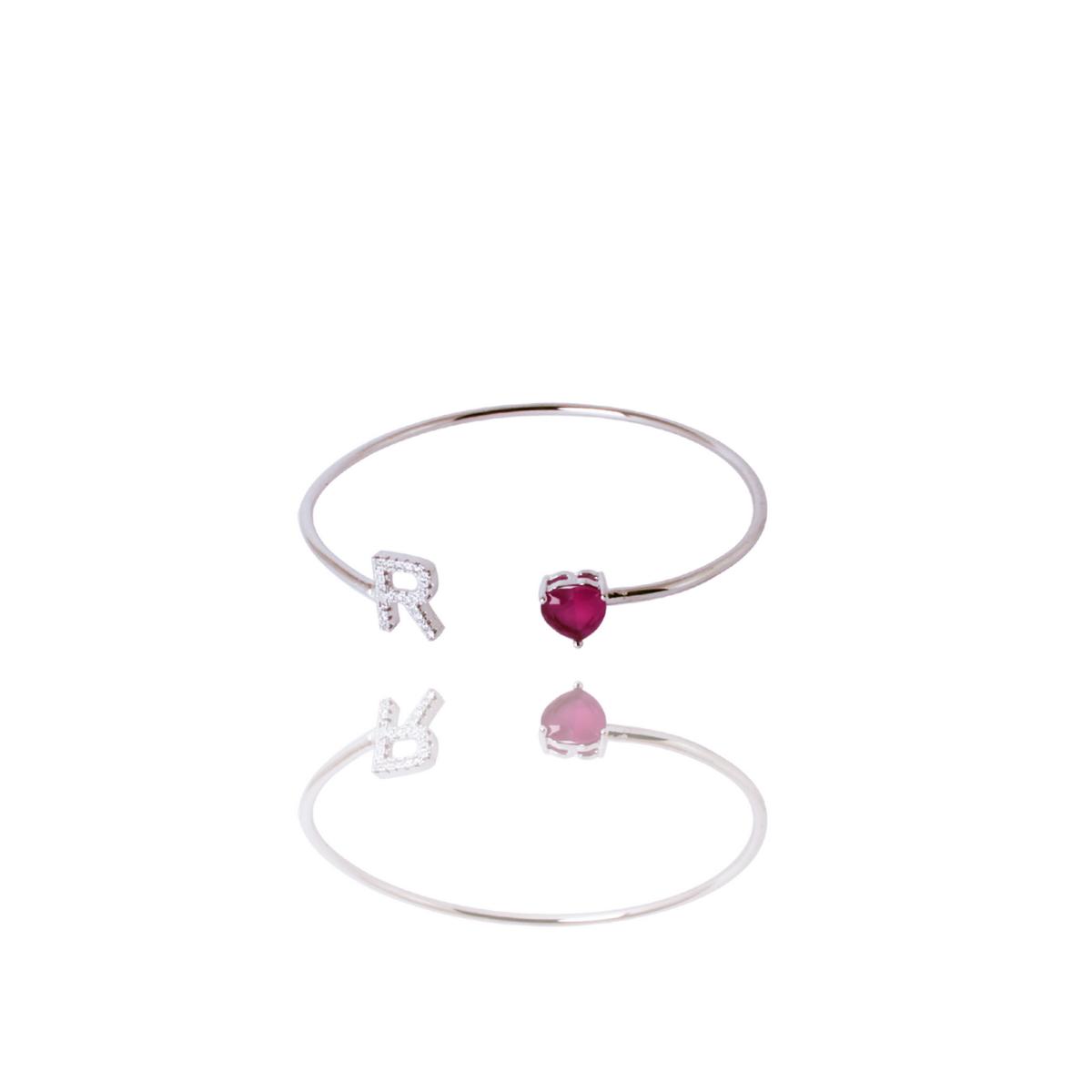 Bracelete Barbara Strauss Semi Joia Love R Em Quartzo Vermelho Rubi, Rev. Ouro Branco 18K
