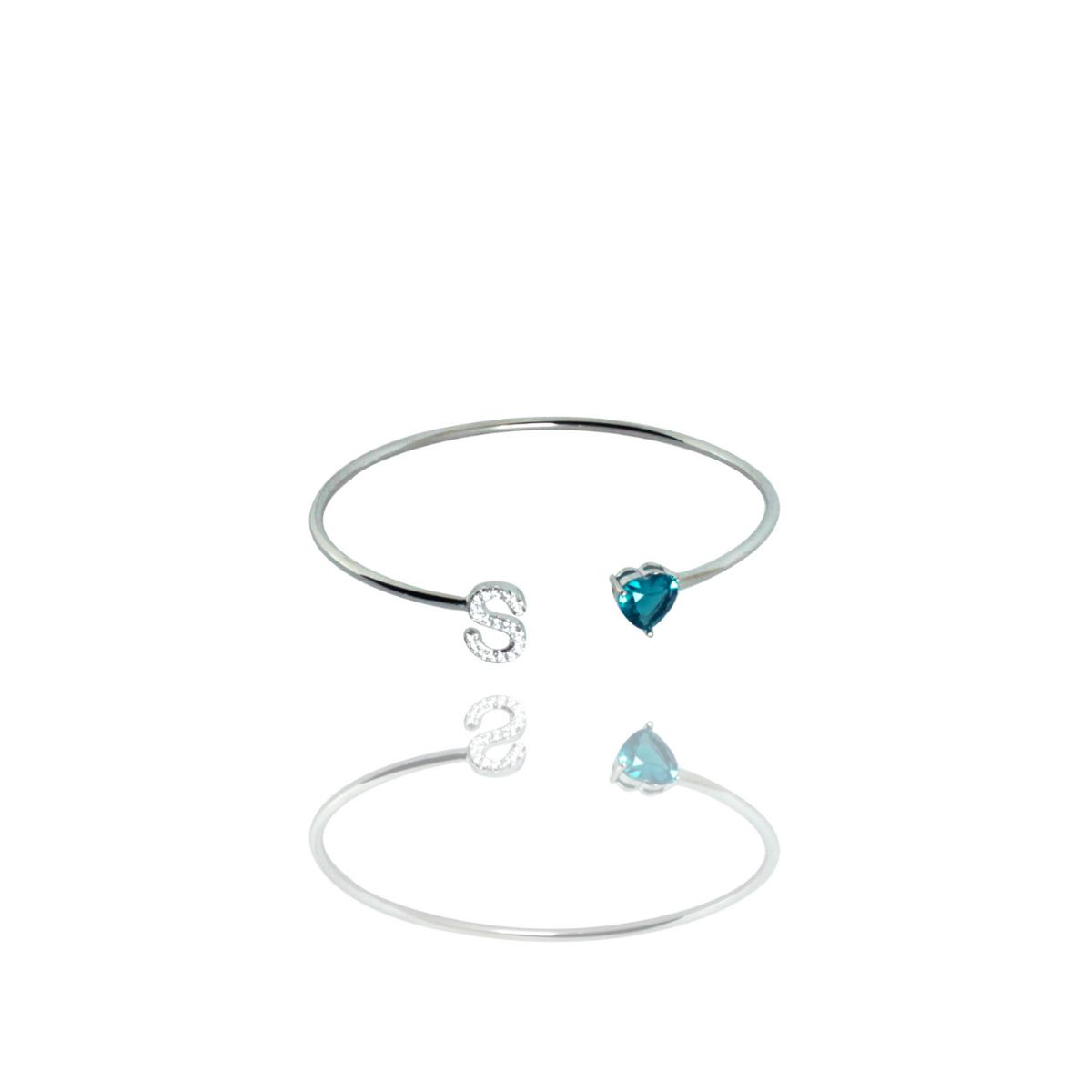 Bracelete Barbara Strauss Semi Joia Love S Em Quartzo Azul, Rev. Ouro Branco 18K