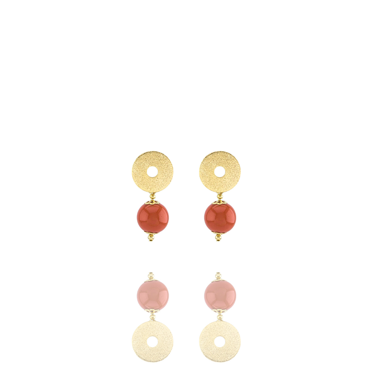 Brinco Barbara Strauss Alimos Em Resina Lalique Laranja,Revestido Em Ouro 18K