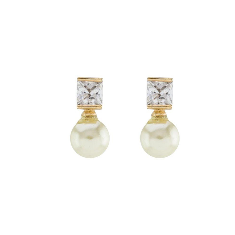 Brinco Barbara Strauss Argos Em Pérola Lalique, Revestido Em Ouro 18K