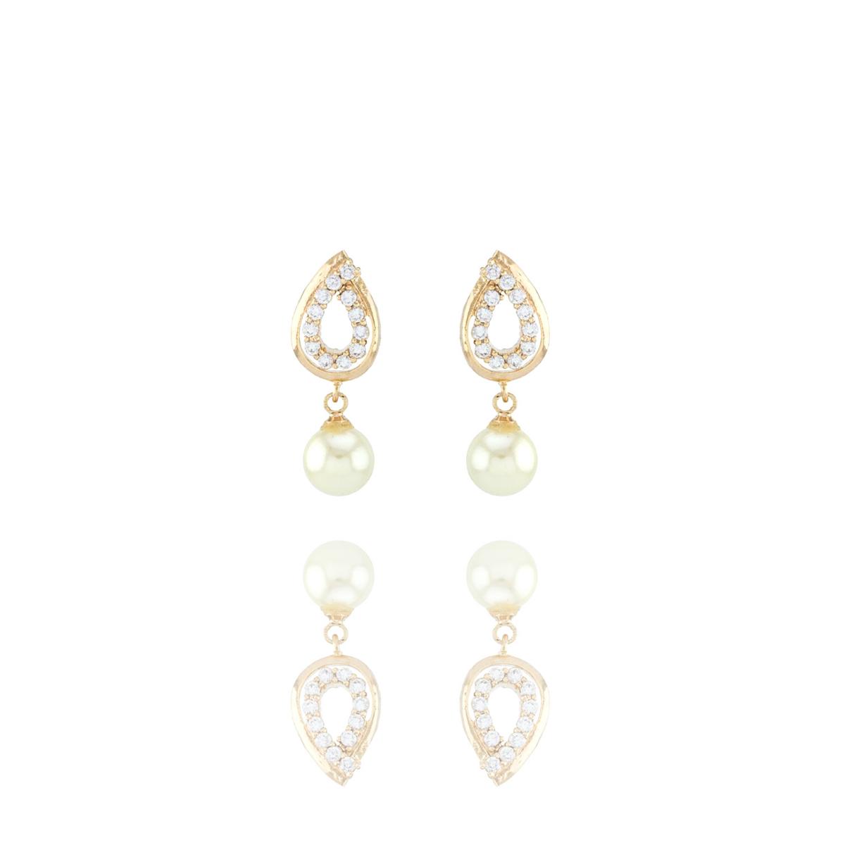 Brinco Barbara Strauss Cálcis Em Pérola Lalique E Zircônia, Revestido Em Ouro 18K