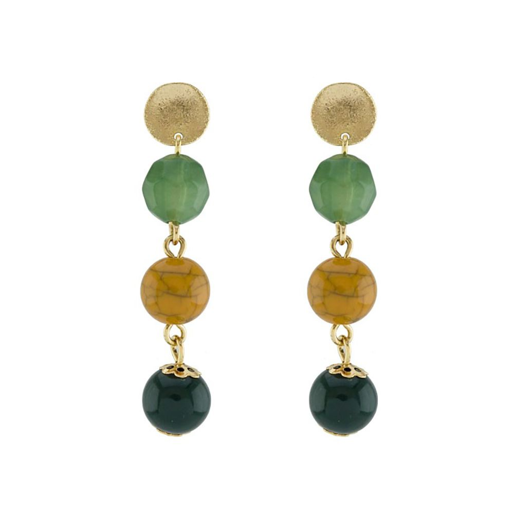 Brinco Barbara Strauss Calitéia Em Resina Lalique Colorida,Revestido Em Ouro 18K