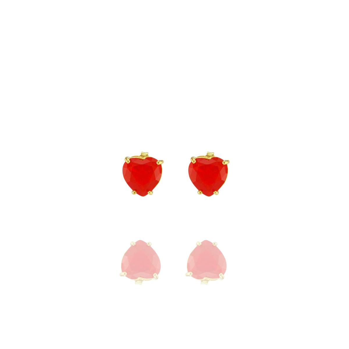 Brinco Barbara Strauss Coração Quartzo Vermelho, Revestido Em Ouro 18K