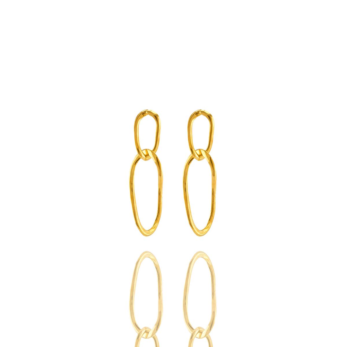 Brinco Barbara Strauss Corrente Em Metal Dourado,Revestido Em Ouro 18K