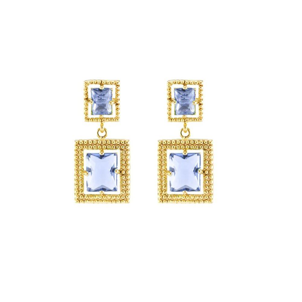 Brinco Barbara Strauss Cristal Azul, Revestido Em Ouro 18K
